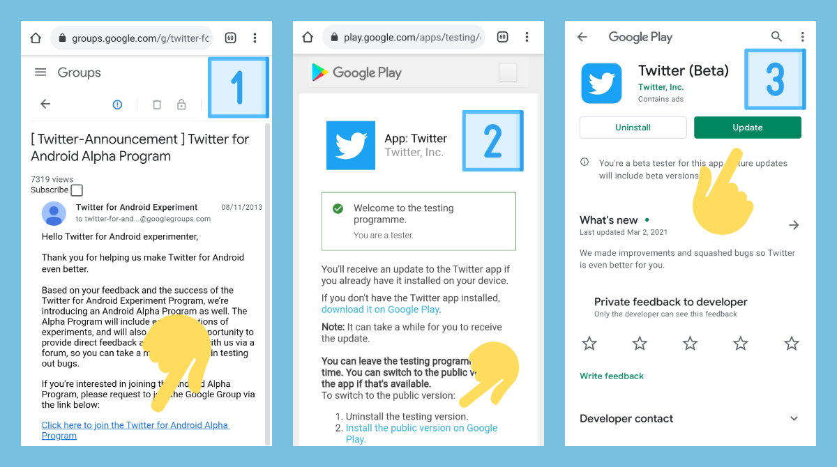 How to become an alpha&beta tester for Twitter on Android