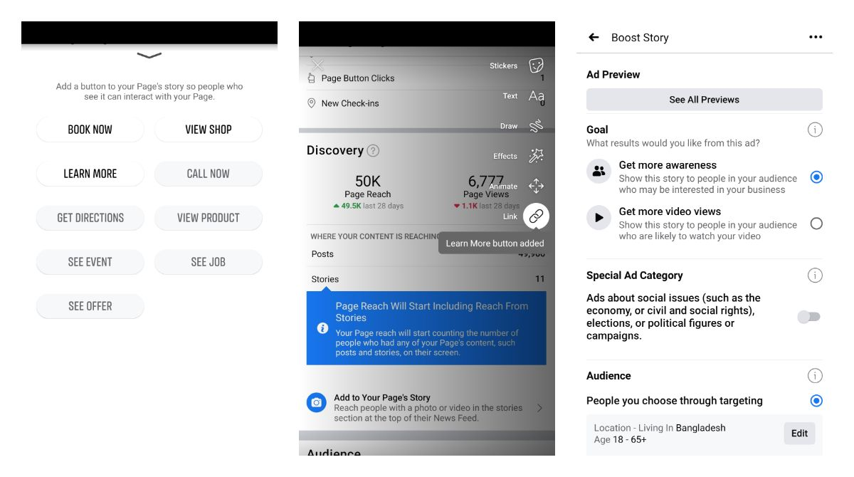 Adding Facebook story from Page Insights on Android