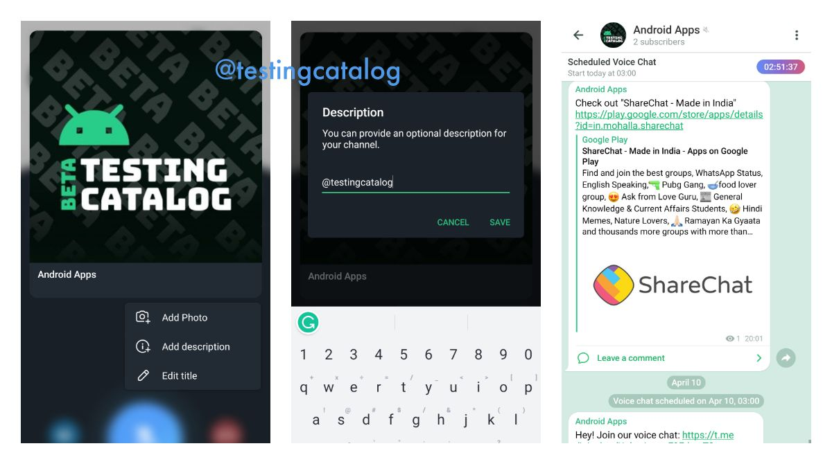 Changing profile bio during the voice chat on Telegram beta for Android