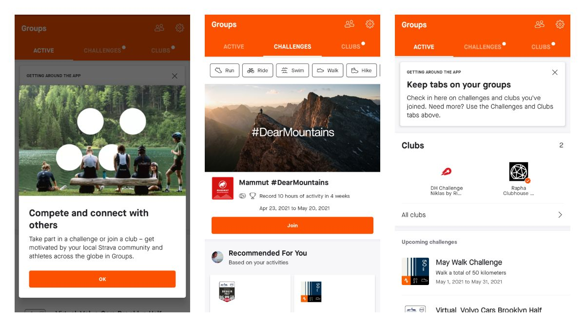 A new Strava Groups UI on Android