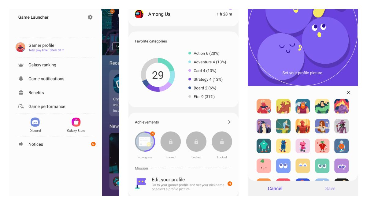 Samsung Gamer Profile on Android