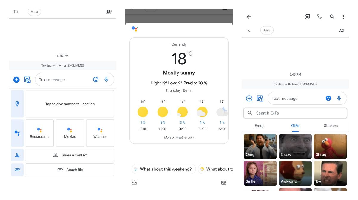 Revamped content picker on Google Messages