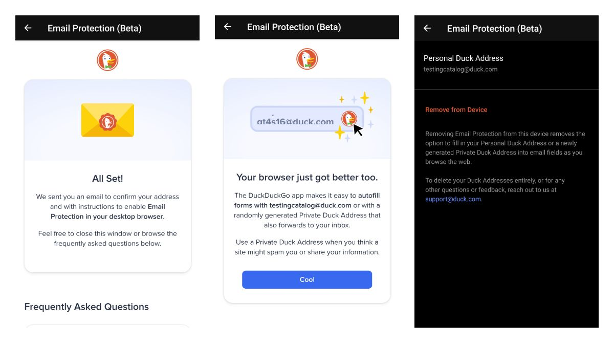 DuckDuckGo email protection beta setup