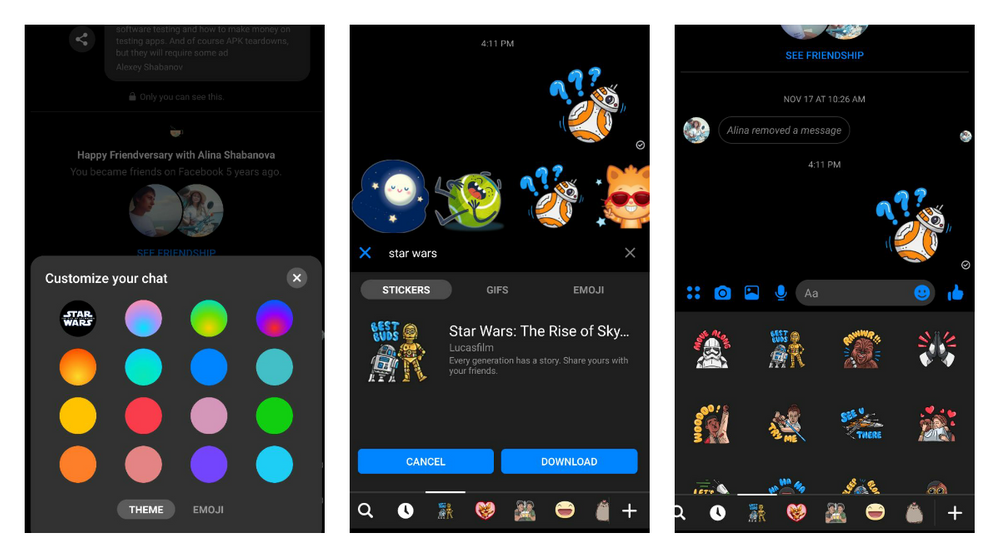 Prepare for Star Wars: Rise of Skywalker with a new theme for Facebook Messenger