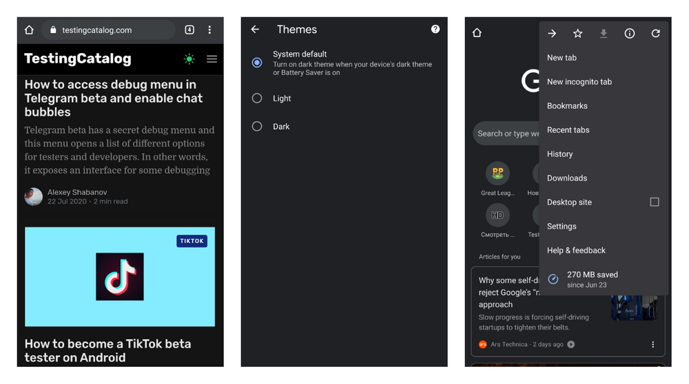 Dark mode on Android 10 and Google Chrome 77+