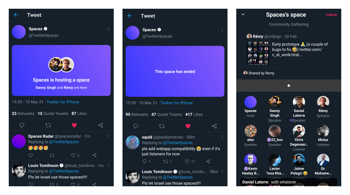 Twitter Spaces got new clickable cards along with a layout that can show shared tweets