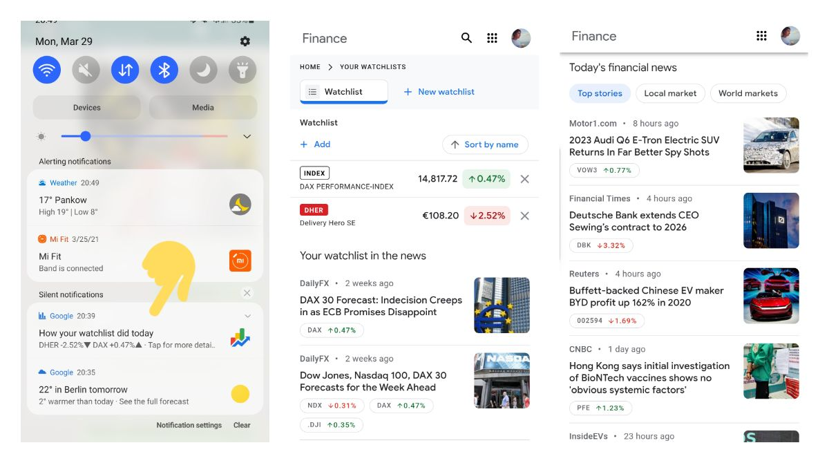 Google is pushing stock market watchlist notifications along with an updated finance layout