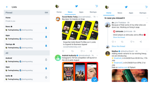 Twitter's latest alpha and beta updates add quick access to lists from the home page