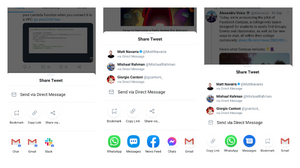 "Twitter got a new share layout that splits ""bookmark"", ""copy"" and ""share via"" actions into a separate row"